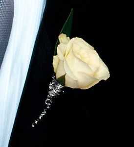 White Rose Boutonniere in Orlando FL, Harry's Famous Flowers