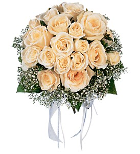 Hand-Tied White Roses Nosegay in Milwaukee WI, Alfa Flower Shop