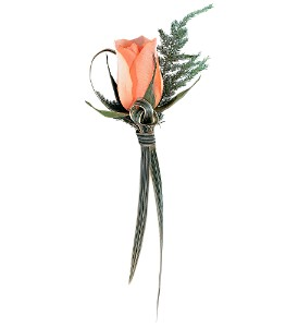 Peach Promise Boutonniere in Chicago IL, Soukal Floral Co. & Greenhouses