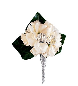 White Stock Boutonniere in Big Rapids MI, Patterson's Flowers, Inc.