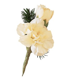 Miniature White Carnation Boutonniere in Big Rapids MI, Patterson's Flowers, Inc.