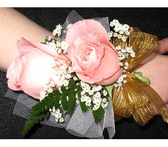 DOUBLE ROSE WRISTLETPlease call for pricing in New Paltz NY, The Colonial Flower Shop