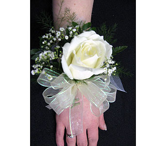 SINGLE WHITE ROSE WRISTLETPlease call for pricing in New Paltz NY, The Colonial Flower Shop