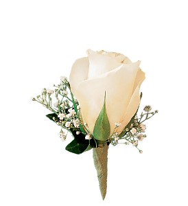 White Rose and Baby's Breath Boutonniere in Peoria IL, Flowers & Friends Florist