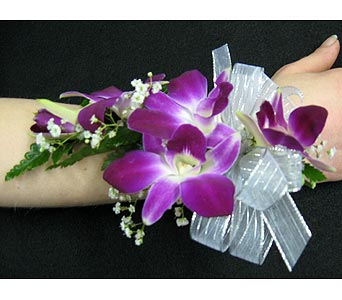 PURPLE DENDROBIUM ORCHID WRISTLETPlease call for pricing in New Paltz NY, The Colonial Flower Shop