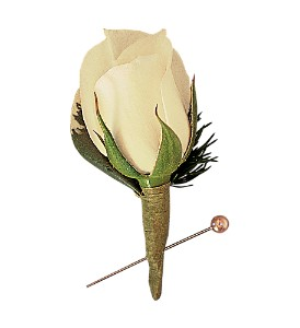 Miniature White Rose Boutonniere in Big Rapids MI, Patterson's Flowers, Inc.