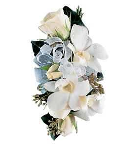 White Rose and Orchid Corsage in Charlottesville VA, A New Leaf Florist