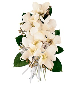 White Dendrobium Corsage in Broomfield CO, Bouquet Boutique, Inc.