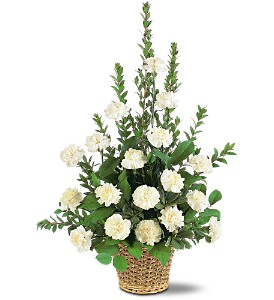 White Simplicity Basket in Beaumont CA, Oak Valley Florist