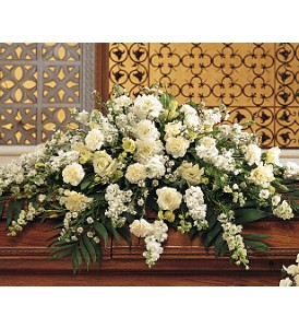Pure White Casket Spray in Boston MA, Exotic Flowers
