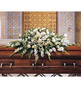 Deluxe Pure White Casket Spray in Eugene OR, Rhythm & Blooms