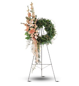 Peach Comfort Wreath in Bend OR, All Occasion Flowers & Gifts