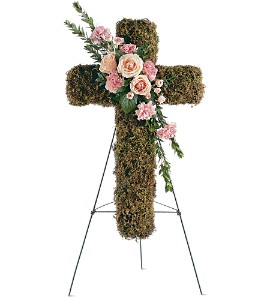 Pink Bouquet Cross in Houston TX, Clear Lake Funeral Florist