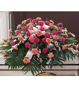 Delicate Pink Casket Spray in Big Rapids MI, Patterson's Flowers, Inc.