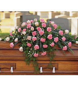 Heavenly Pink Casket Spray in Calgary AB, All Flowers and Gifts
