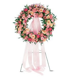 Respectful Pink Wreath in Beaumont CA, Oak Valley Florist