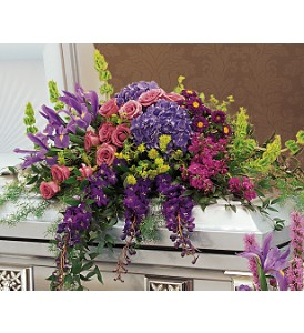 Graceful Tribute Casket Spray in Romeo MI, The Village Florist Of Romeo