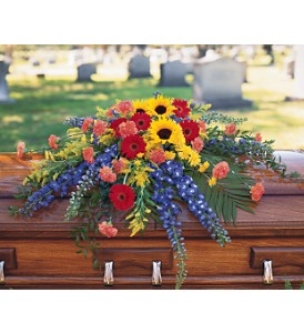 Vibrant Summer Casket Spray in Big Rapids MI, Patterson's Flowers, Inc.
