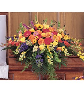 Celebration of Life Casket Spray in Trumbull CT, P.J.'s Garden Exchange Flower & Gift Shoppe