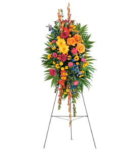 Celebration of Life Standing Spray in Baldwin NY, Wick's Florist, Fruitera & Greenhouse