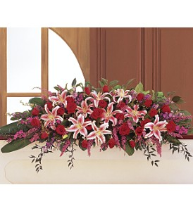 Amethyst and Ruby Casket Spray in Beaumont CA, Oak Valley Florist