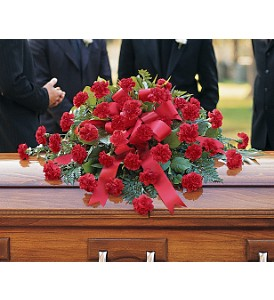 Red Regards Casket Spray in Eugene OR, Rhythm & Blooms