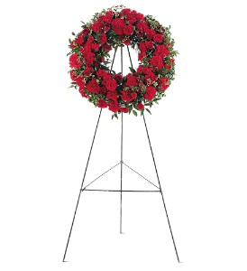 Red Regards Wreath in Kansas City KS, Michael's Heritage Florist
