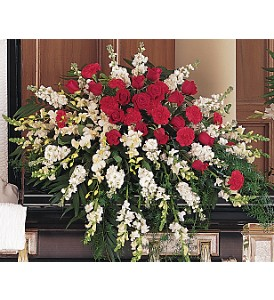 Cherished Moments Casket Spray in Oklahoma City OK, Array of Flowers & Gifts