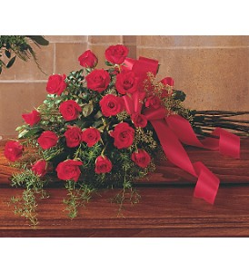 Red Rose Tribute Casket Spray in Beaumont CA, Oak Valley Florist