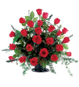 Blooming Red Roses Basket in Bayside NY, Bell Bay Florist