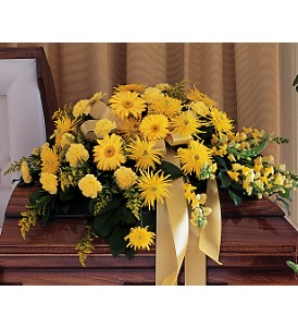 Brighter Blessings Casket Spray in Oklahoma City OK, Array of Flowers & Gifts