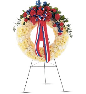 Patriotic Spirit Wreath in Eugene OR, Dandelions Flowers
