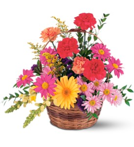 Vibrant Basket Arrangement in Abington MA, The Hutcheon's Flower Co, Inc.