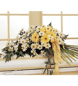 Drop of Sunshine Casket Spray in Eugene OR, Rhythm & Blooms