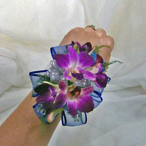 Ribbon Backed Dendrobian Orchid Wrist Corsage in Royersford PA, Three Peas In A Pod Florist