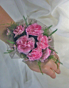 Net Backed Miniature Carnation Wrist Corsage in Royersford PA, Three Peas In A Pod Florist