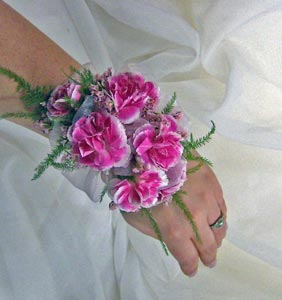 Ribbon Backed Miniature Carnation Wrist Corsage in Royersford PA, Three Peas In A Pod Florist