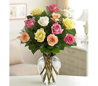 12 Long Stem Assorted Roses in Palm Desert CA, Milan's Flowers & Gifts