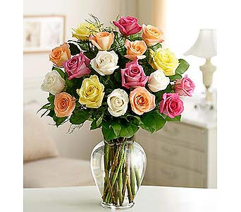 18 Long Stem Assorted Roses in Palm Desert CA, Milan's Flowers & Gifts