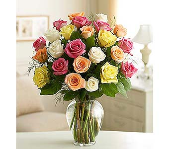 24 Long Stem Assorted Roses in Palm Desert CA, Milan's Flowers & Gifts