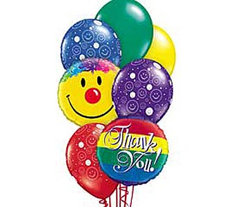 Thank You Smiles Theme Balloon Bouquet in Lawrence KS, Englewood Florist