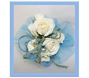 White Spray Rose with Blue Tulle Corsage in Hudson NH, Anne's Florals & Gifts