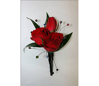 Red Spray Rose Boutonniere in Hudson NH, Anne's Florals & Gifts