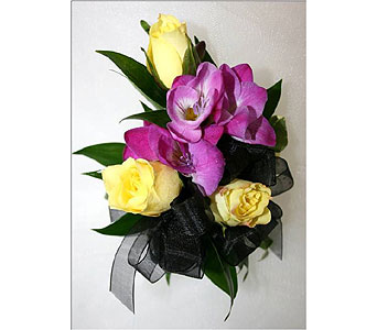 Spray Roses with Freesia Wristlet Corsage in Hudson NH, Anne's Florals & Gifts
