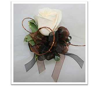 Single White Rose with Wristlet Corsage in Hudson NH, Anne's Florals & Gifts