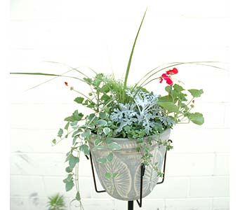 Mixed Cemetery Planter with Heavy 10 in Northfield MN, Forget-Me-Not Florist