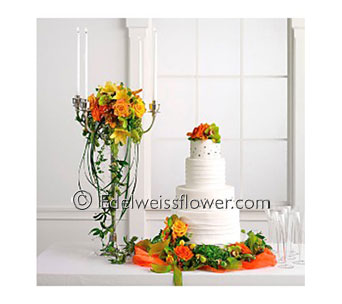 Orange & Green Wedding Cake Flowers in Santa Monica CA, Edelweiss Flower Boutique