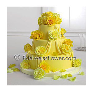 Yellow Roses Wedding Cake Flowers in Santa Monica CA, Edelweiss Flower Boutique