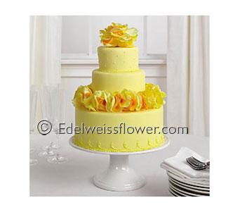 Yellow Rose Petal Cake in Santa Monica CA, Edelweiss Flower Boutique