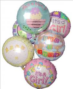 Baby Girl Mylar Balloon Bouquet in Kennett Square PA, Barber's Florist Of Kennett Square